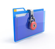 Data security. 3d illustration of folders closed by a chain and lock, isolated on white Stock Photo
