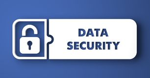 Data Security on Blue in Flat Design Style. Royalty Free Stock Photo