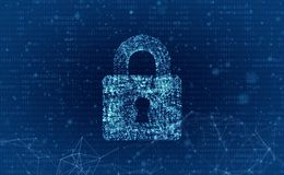 Data security and computer server network safety with a protecti. On symbol of a lock with a keyhole Stock Image