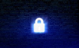 Data security and computer server network safety with a protecti. On symbol of a lock with a keyhole Royalty Free Stock Photos