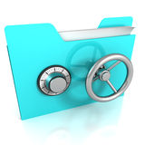 Data security concept blue folder and safe lock. 3d Stock Photo
