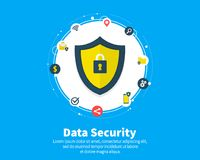 Data Security concept. Circles, integrate flat icons. Connected symbols for guard, protection, monitoring, safety or. Control concepts. Flat cartoon design Stock Images