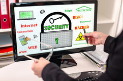 Data security concept on a computer monitor Stock Images