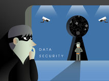 Data security concept in flat design Royalty Free Stock Photos