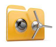 Data security concept.  folder and lock 3D. Data security concept. Yellow folder and lock. 3D isolated on white Stock Image