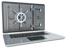 Data security concept. Laptop and combination Lock. 3D image iso Stock Photos