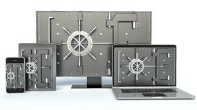 Data security concept. Laptop, smartphone, TV. And combination Lock. 3D Stock Photography