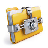 Data security concept. Locked folder with combination lock Royalty Free Stock Photos