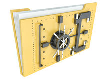 Data security concept. Locked folder with combination lock Stock Image