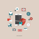 Data security concept. Smart phone with icons. Flat  illustration Stock Images