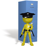 Data security cop guards protect safe files. A data security guard protects filing cabinet files from hackers and computer viruses Royalty Free Stock Images
