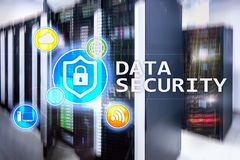 Data security, cyber crime prevention, Digital information protection. Lock icons and server room background.  Royalty Free Stock Photos