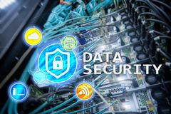 Data security, cyber crime prevention, Digital information protection. Lock icons and server room background.  Royalty Free Stock Photography