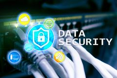 Data security, cyber crime prevention, Digital information protection. Lock icons and server room background.  stock images
