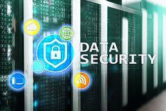 Data security, cyber crime prevention, Digital information protection. Lock icons and server room background.  royalty free stock photo