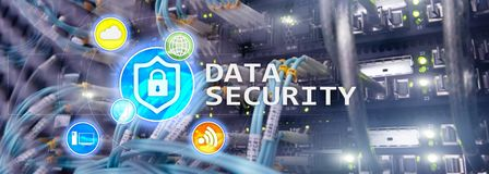 Data security, cyber crime prevention, Digital information protection. Lock icons and server room background. Data security, cyber crime prevention, Digital royalty free stock photography