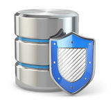 Data security. Database and shield. Royalty Free Stock Image