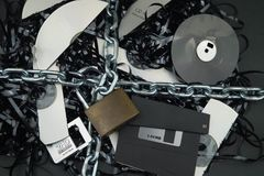 GDPR Data security - data destruction. DSGVO Data protection, security and destruction Royalty Free Stock Photo