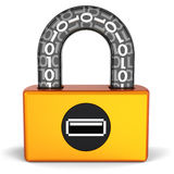 Data security. Digital Usb lock (Hi-Res). Abstract orange digital padlock with black parts and binary code in transparent arch. Computer security concept. This Stock Images