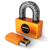 Data security. Digital Usb lock (Hi-Res). Shiny orange digital padlock with binary code in transparent arch. Flash drive plug as keyhole. Flash drive as key Royalty Free Stock Image