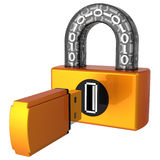 Data security. Digital Usb lock (Hi-Res). Shiny orange digital padlock with binary code in transparent arch. Flash drive plug as keyhole. Flash drive as key Royalty Free Stock Photos
