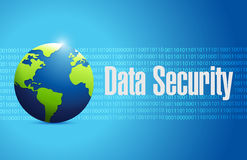 Data security globe illustration design. Over a blue binary background Royalty Free Stock Photo