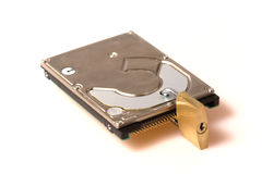 Data security: Hard disk with padlock Stock Photography