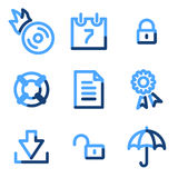 Data security icons. Vector web icons, blue contour series