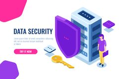 Data security isometric, database icon with shield and key, data lock, personal support of safety, women with laptop in. Hand, cartoon vector stock illustration
