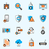 Data Security Line Icons Set Stock Photos
