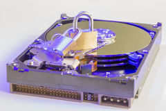 Data Security: Lock Sitting On A Hard Disk Drive Stock Photos