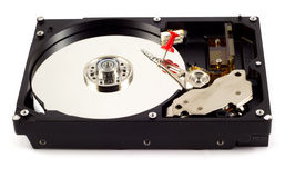 Data security or read-error concept. Hard drive with locked reading head by pushpin Stock Photo