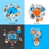 Data Security And Storage Icons Set. Data security and storage line icons set with cloud antivirus and transfer flat isolated  vector illustration Royalty Free Stock Image