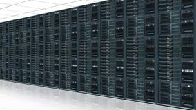 Data server center - view with camera zoom stock footage