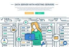 Data Server and Hosting - line design website header. Illustration of vector modern line flat design website banner, header with an IT girl working in Royalty Free Stock Photography