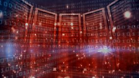 Server Room and binary code. Data Server Room against animated red background and blue binary code stock video footage