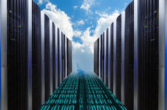 Data servers resting on clouds in blue in a cloudy sky. Data servers resting on clouds in blue in cloudy sky Royalty Free Stock Image