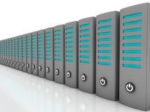 Data servers in a row. Grey servers on reflective floor stock illustration