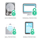 Data set security icon on your computer, email, hard drive Stock Photos