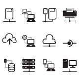 Data sharing, hosting, Server, Cloud  Network icons Royalty Free Stock Photos
