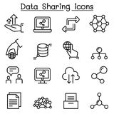 Data sharing icon set in thin line style. Vector illustration graphic design Royalty Free Stock Photo