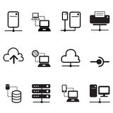 Data sharing, Server, Cloud  Network System icons Royalty Free Stock Photography