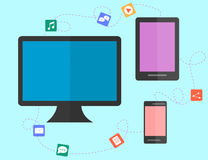 Data sharing and transfer concept between devices. flat design. Royalty Free Stock Images