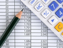 Data sheet, calculator and pencil Stock Photos