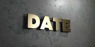 Data - sinal do ouro montado na parede de mármore lustrosa - 3D rendeu a ilustração conservada em estoque livre dos direitos Foto de Stock Royalty Free