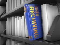 Data som arkiverar - titel av boken Arkivfoton