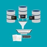 Data som bryter, eller affärsintelligens som bearbetar begrepp Information om extrakt från databas för beslutsfattande Royaltyfri Fotografi