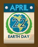 Data speciale in calendario per la celebrazione di giornata per la Terra, illustrazione di vettore Immagine Stock