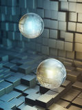 Data spheres. Floating in a high technology space. Digital illustration Stock Photo