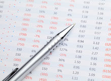 Data spreadsheet and pen Stock Image